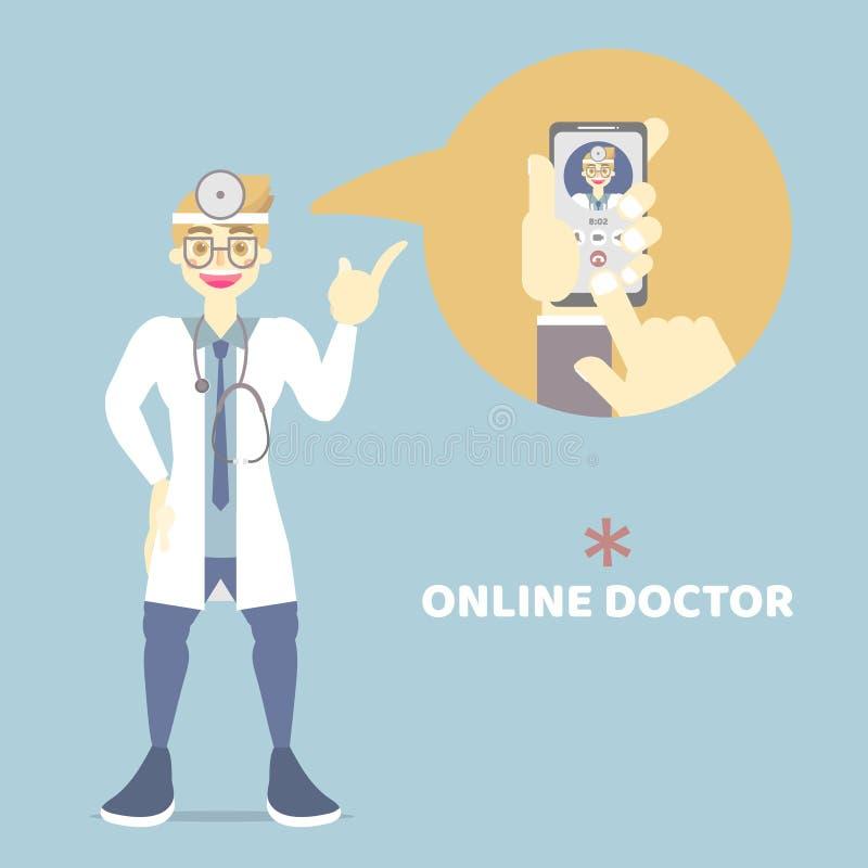 mãos e telefone celular da terra arrendada do dedo que chama o doutor, bate-papo em linha dos cuidados médicos com doutor masculi ilustração do vetor