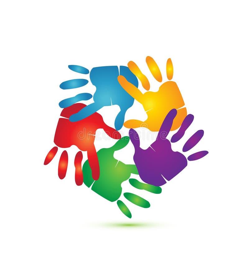 Mãos em torno do logotipo  ilustração do vetor