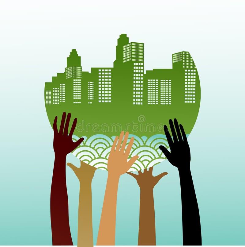 Mãos estilizados que prendem a cidade verde ilustração do vetor