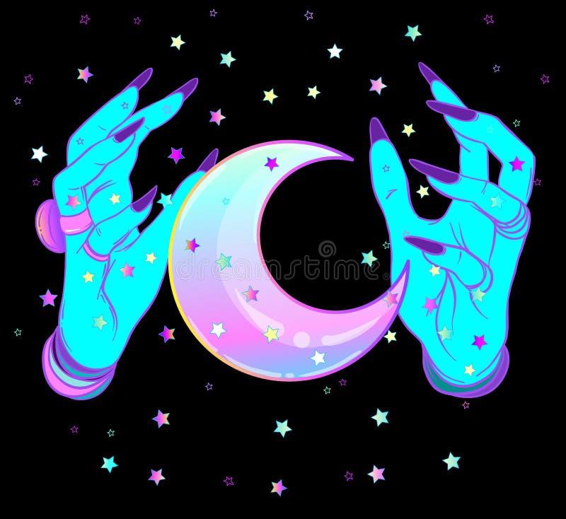 Mãos estrangeiras fêmeas de turquesa com a lua no preto Vec bonito assustador ilustração royalty free