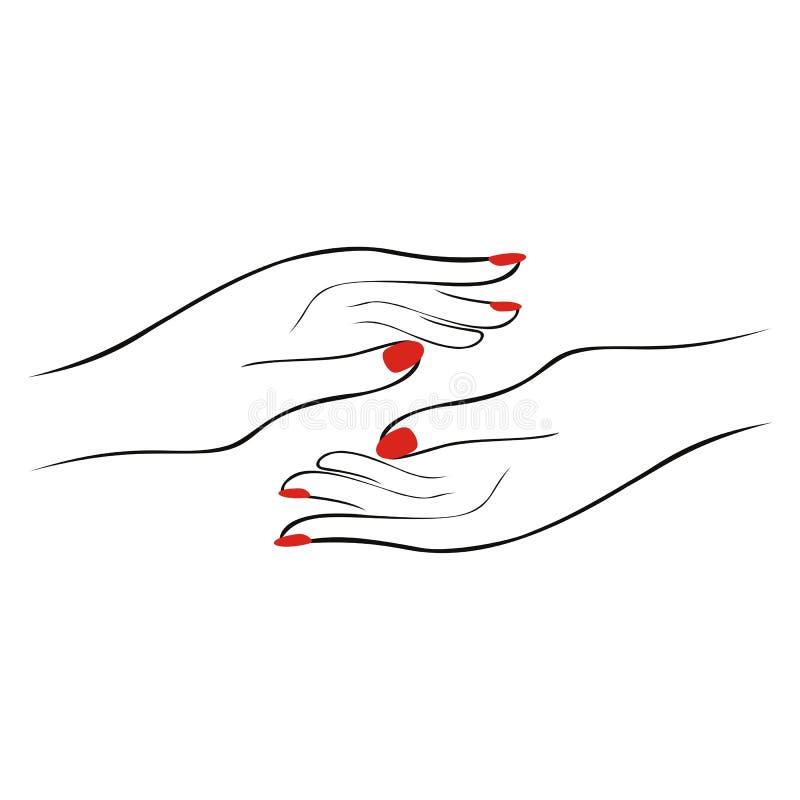 Mãos fêmeas bonitas com manicure Woman& x27; aperto de mão de s Logotyp ilustração do vetor