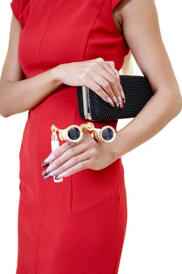 Mãos fêmeas com tratamento de mãos agradável da arte imagem de stock