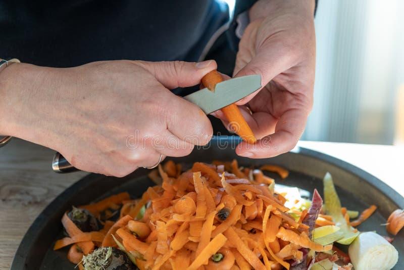 Mãos fêmeas da mulher que descascam cenouras imagens de stock royalty free