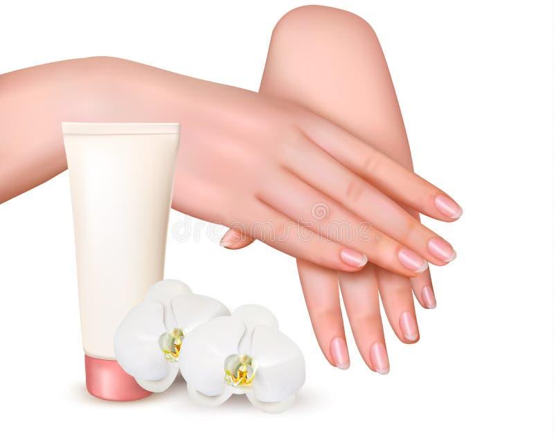 Mãos fêmeas novas bonitas com um creme e as orquídeas ilustração do vetor
