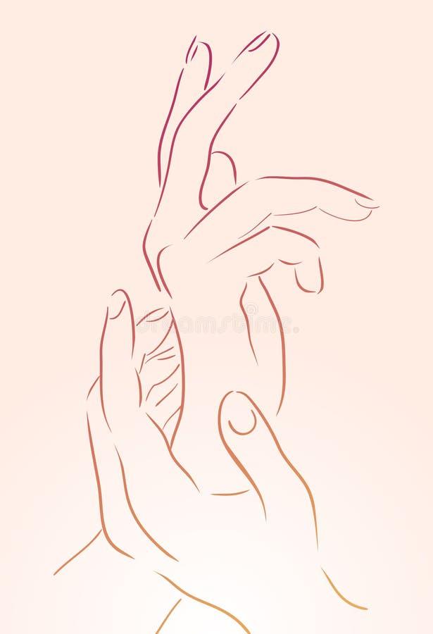 Mãos fêmeas para a ioga e os estúdios do cosmético ilustração do vetor