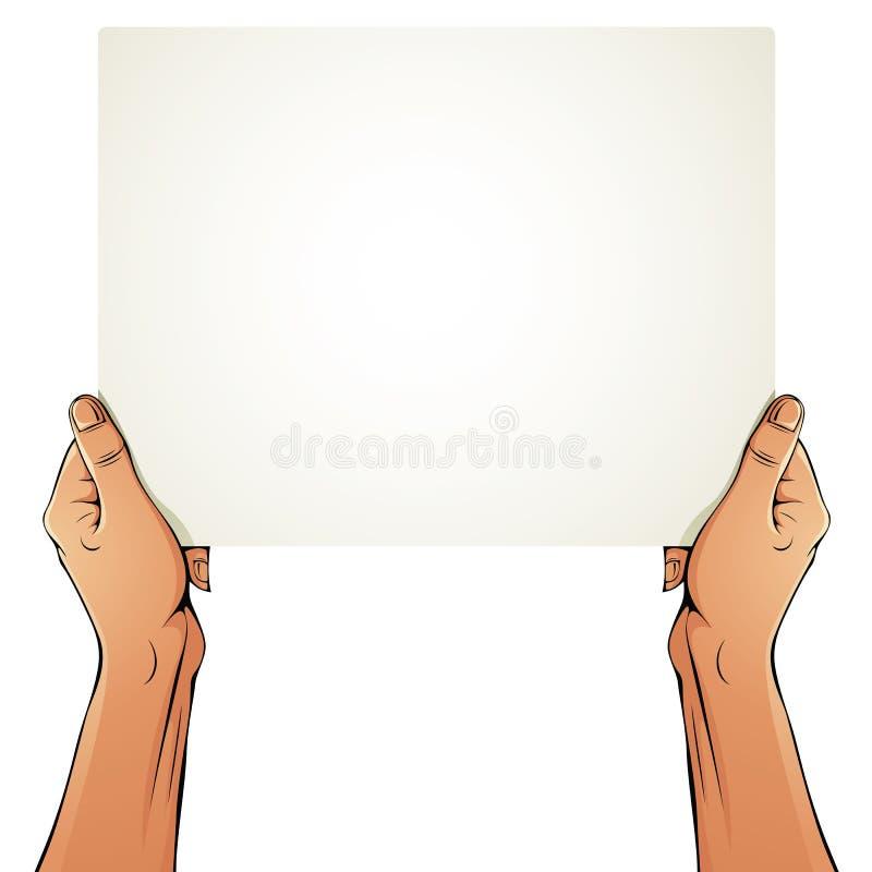 Mãos fêmeas que guardam a folha do papel vazio ilustração royalty free