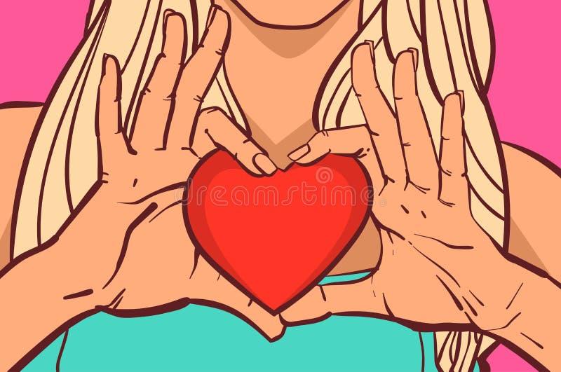 Mãos fêmeas que guardam o conceito bonito do dia de Valentim do close up da mulher da forma vermelha do coração ilustração do vetor