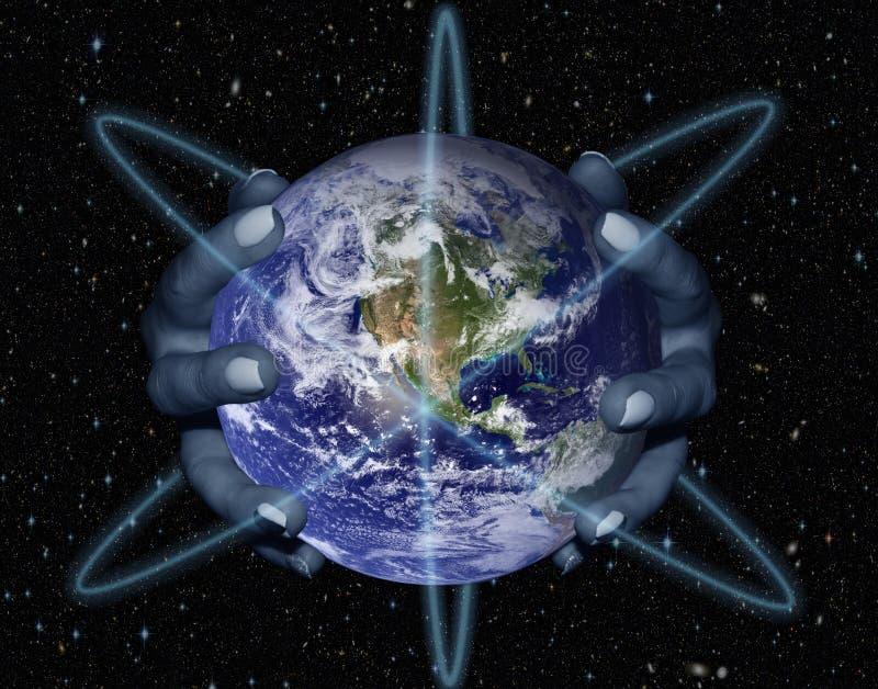 Mãos fêmeas que guardam o globo ilustração do vetor