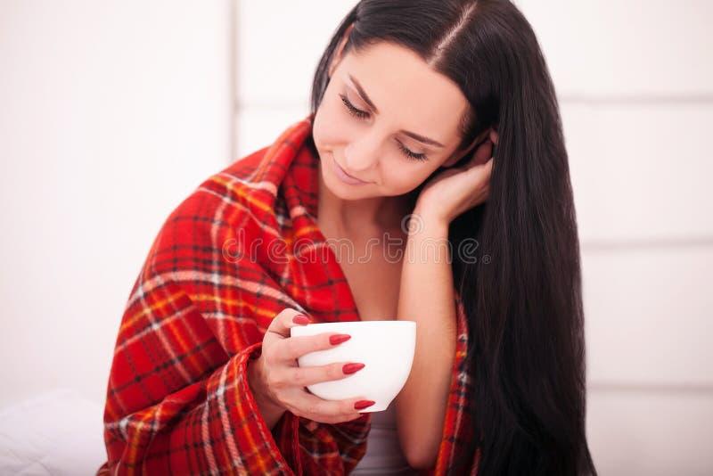 Mãos fêmeas que guardam o inverno do chocolate das bebidas e o Natal quentes c imagens de stock