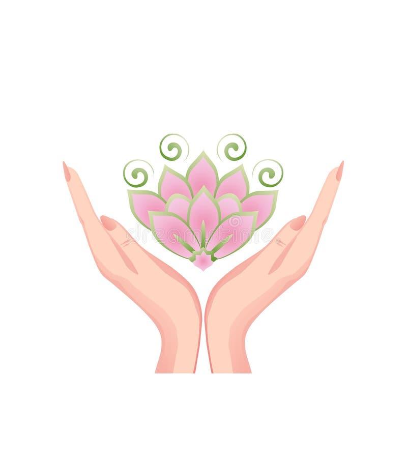Mãos fêmeas que guardam uma flor de lótus cor-de-rosa bonita ilustração stock