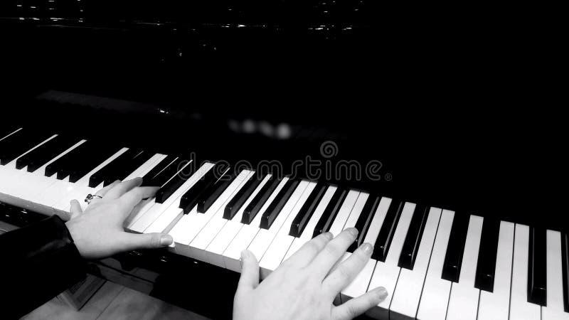 Mãos fêmeas que jogam o piano, concerto da música clássica, close up preto e branco fotos de stock royalty free