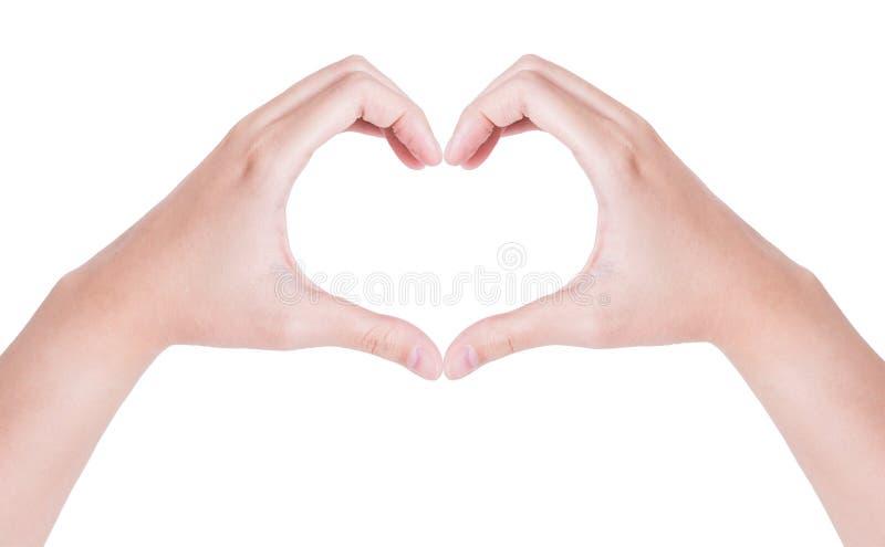 Mãos fêmeas sob a forma do coração isolado no branco imagem de stock