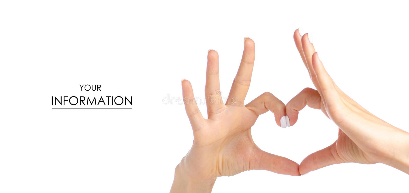 Mãos fêmeas sob a forma do teste padrão do coração foto de stock royalty free