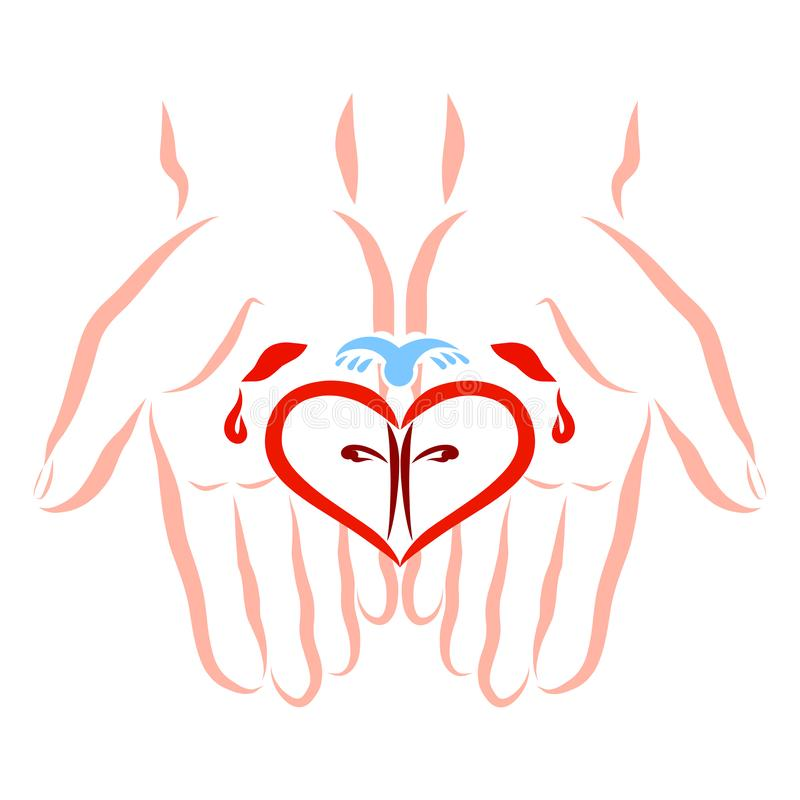 Mãos feridas de Cristo, do amor, do salvação e da fé como um presente ilustração do vetor