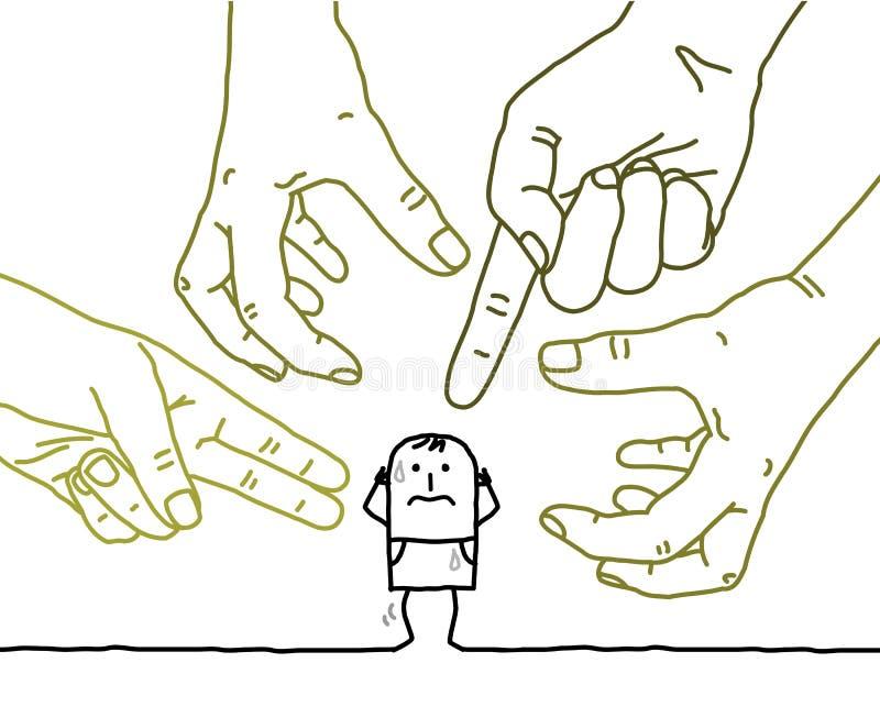 Mãos grandes com personagem de banda desenhada - agressão e paranoia ilustração stock