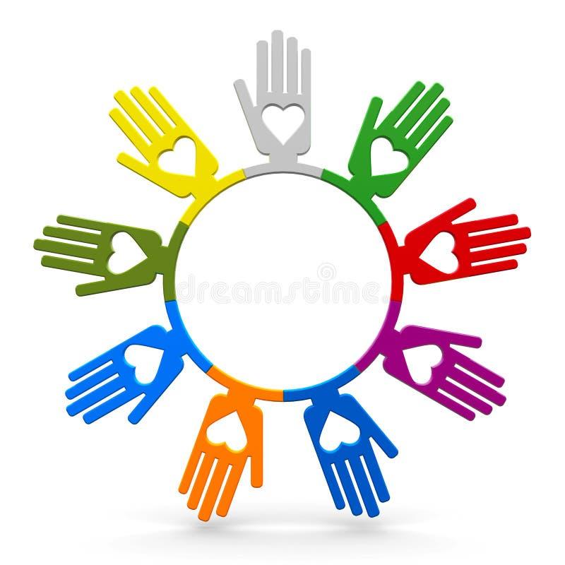 Mãos humanas com amor no círculo ilustração do vetor