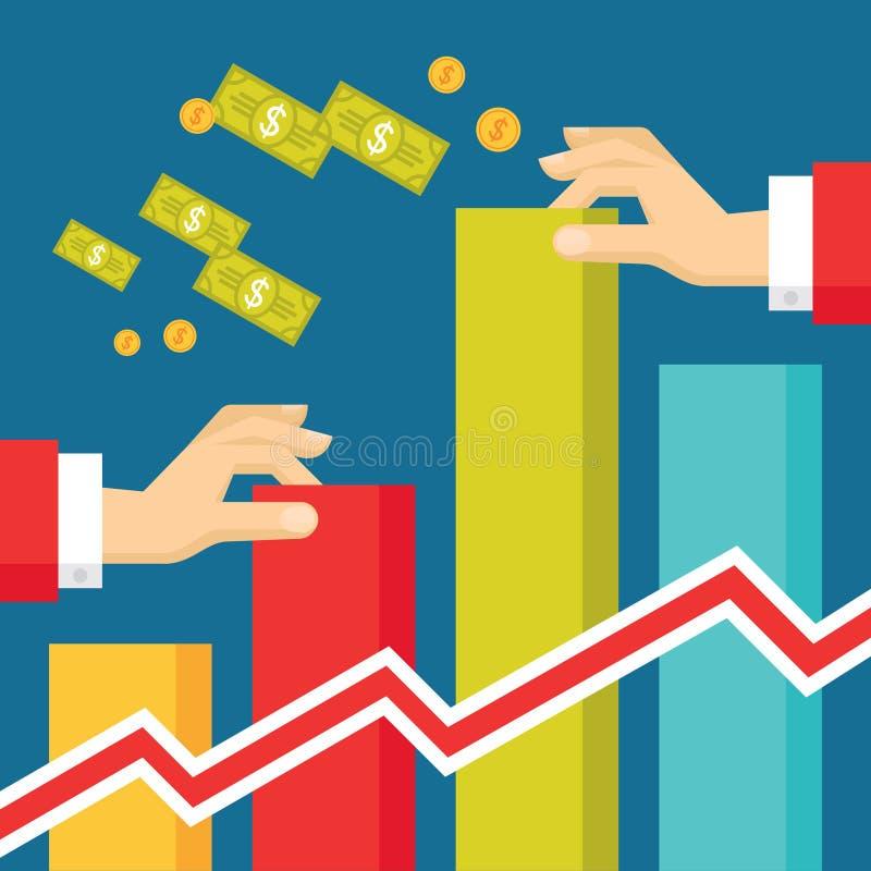 Mãos humanas com Infographic - ilustração da tendência do negócio no estilo liso do projeto ilustração stock