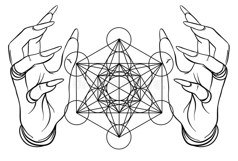 Mãos humanas do estilo do vintage com símbolos sagrados da geometria Dotwork ilustração stock