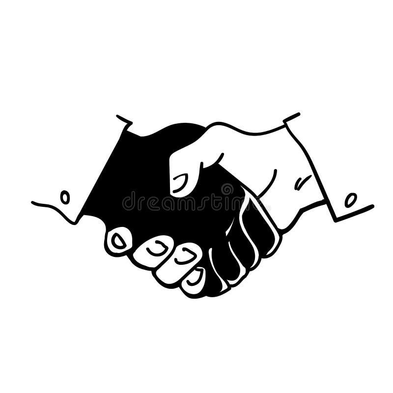 Mãos humanas preto e branco em um aperto de mão Ilustração tirada mão do estilo do esboço do vetor ilustração stock