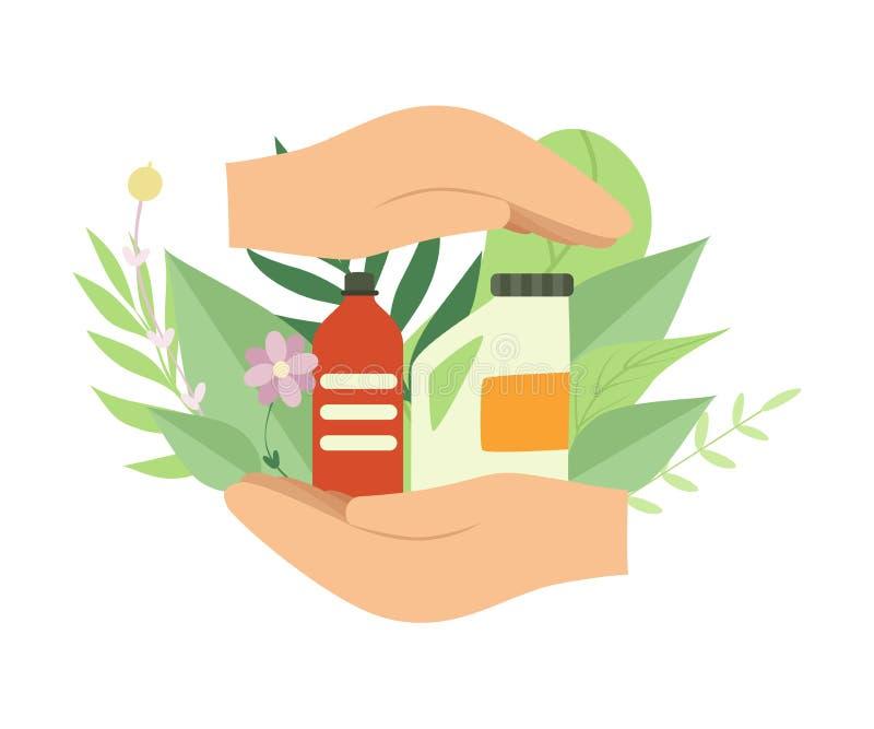 Mãos humanas que guardam fontes de limpeza amigáveis do agregado familiar de Eco, proteção ambiental, vetor do conceito da ecolog ilustração stock