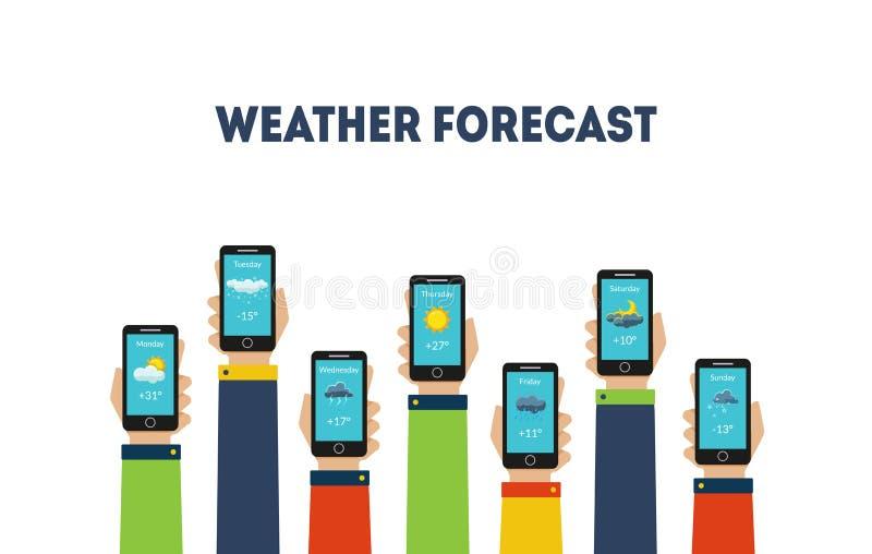 Mãos humanas que guardam Smartphones com ilustração do vetor das aplicações da previsão de tempo ilustração do vetor
