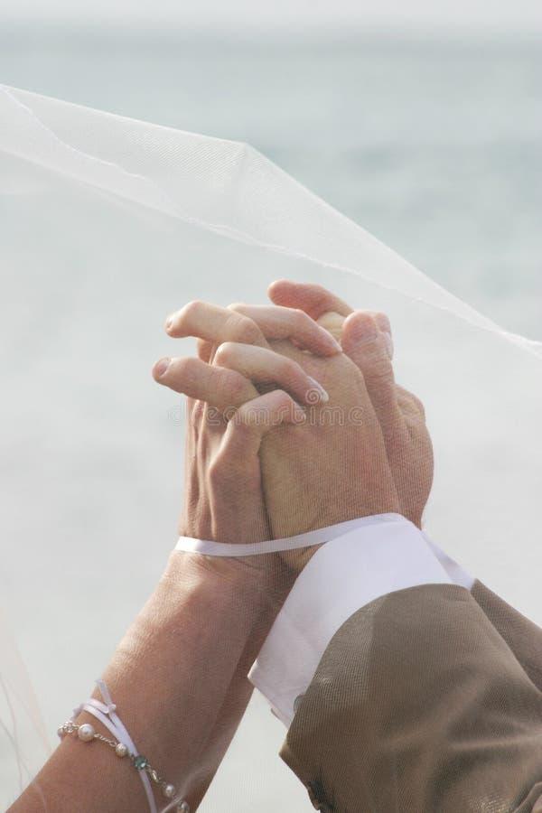 Mãos juntadas na união fotografia de stock royalty free
