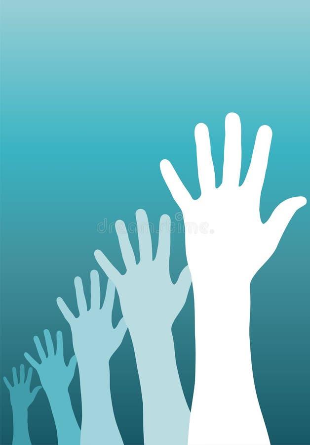 Mãos levantadas ilustração royalty free