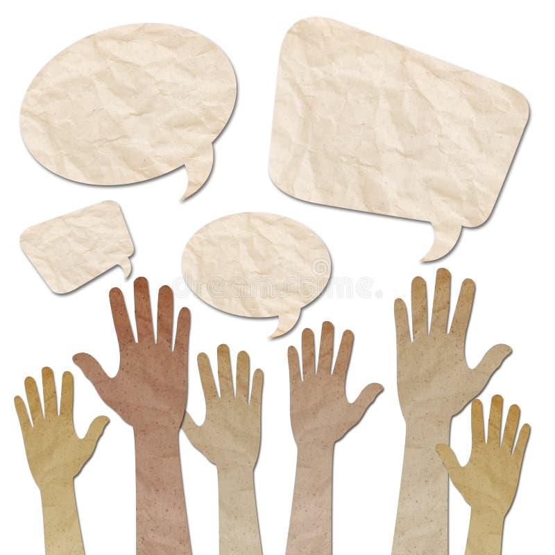 Mãos levantadas acima com bolhas do discurso ilustração stock