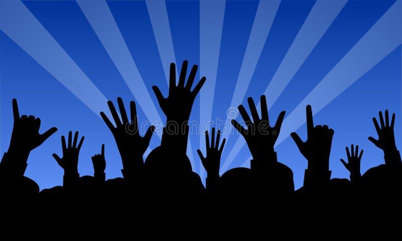 Mãos levantadas em um concerto ilustração stock
