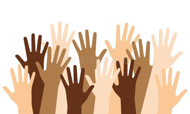 Mãos levantadas Multiracial ilustração do vetor