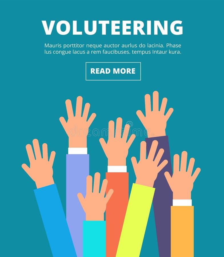 Mãos levantadas povos, braços de votação O oferecimento, a caridade, a doação e a solidariedade vector o conceito ilustração stock