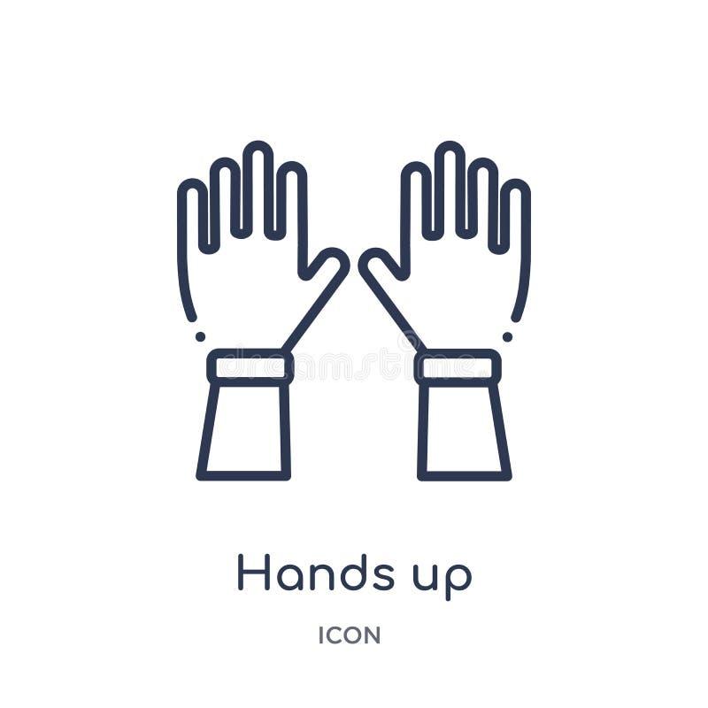 Mãos lineares acima do ícone da coleção do esboço dos gestos Linha fina mãos acima do ícone isolado no fundo branco mãos acima de ilustração do vetor