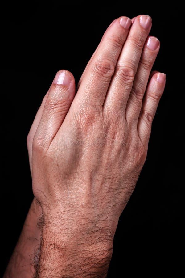 Mãos masculinas que rezam com palmas junto Fundo preto imagem de stock