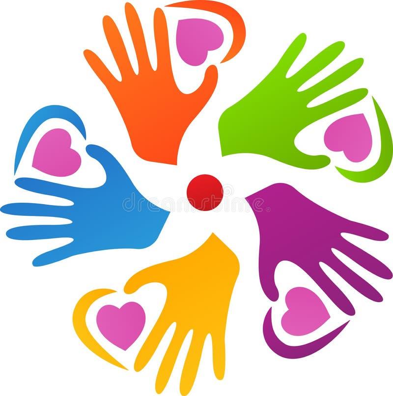 Mãos multirraciais com amor ilustração do vetor