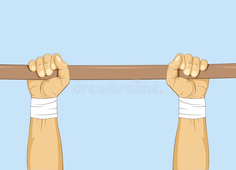 Mãos na barra Levante gymnastic Treinamento calistênico ilustração do vetor