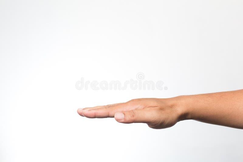 Mãos na parede branca foto de stock