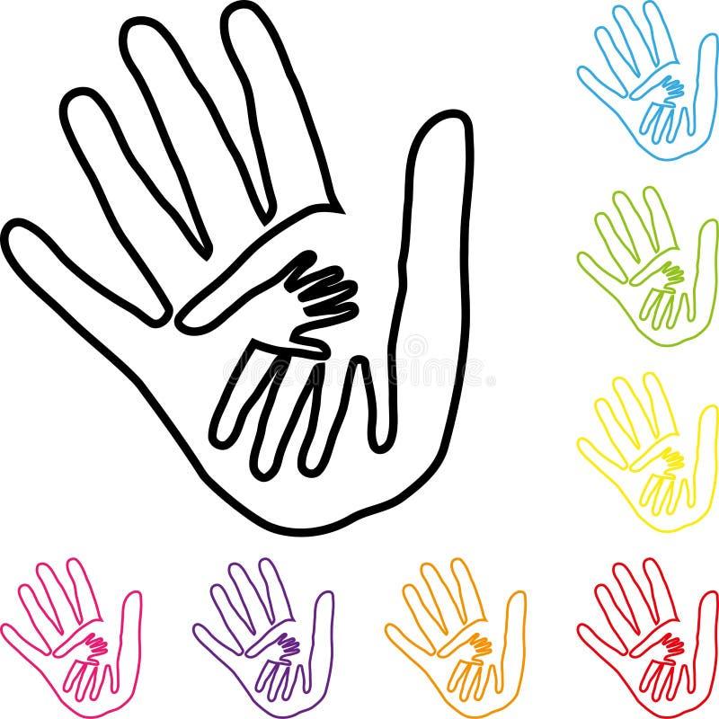 Mãos na pintura, nos três ícones das mãos, da equipe e da família ilustração stock