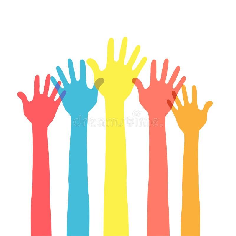 Mãos no ar ilustração do vetor