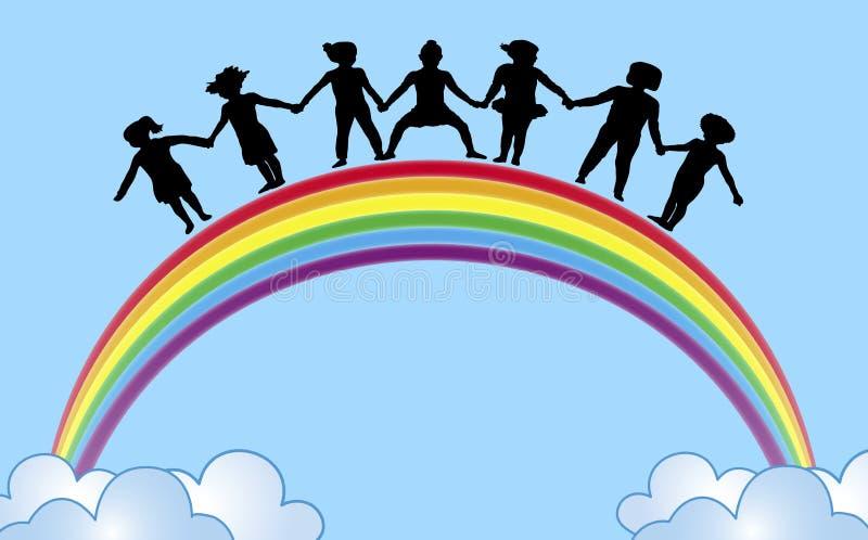 Mãos no arco-íris 1 ilustração do vetor