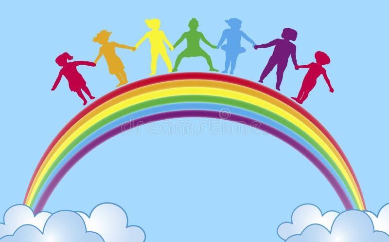 Mãos no arco-íris   ilustração do vetor