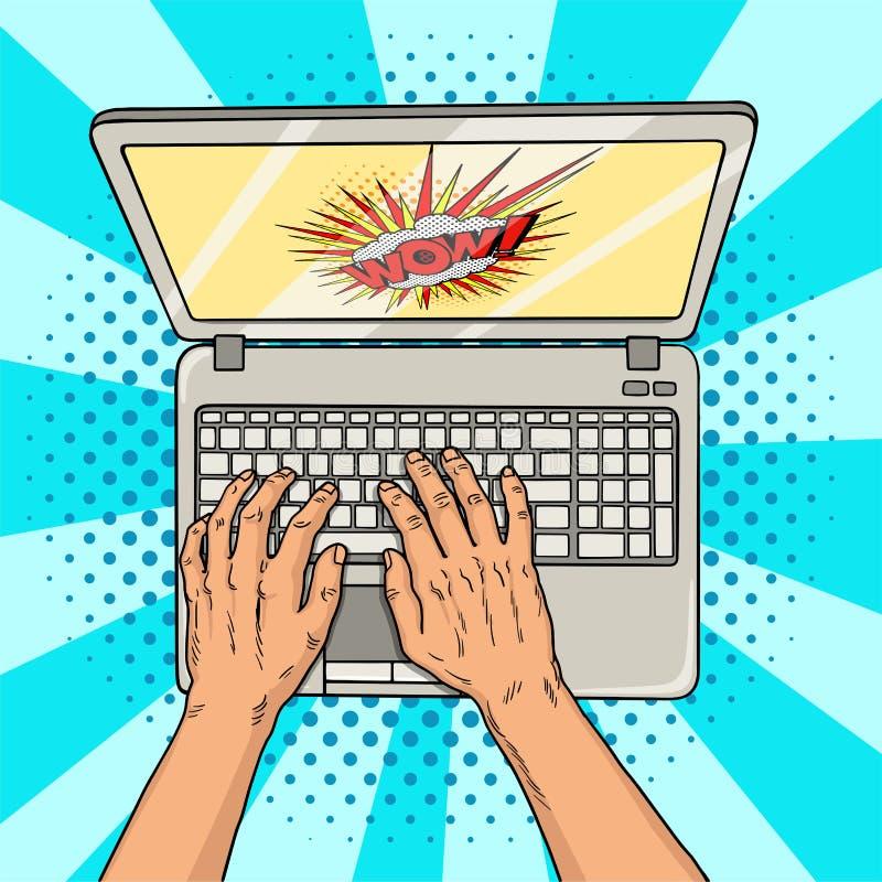 Mãos no estilo cômico do portátil Trabalhador de escritório ou freelancer no trabalho em um computador pessoal Tecnologias modern ilustração do vetor
