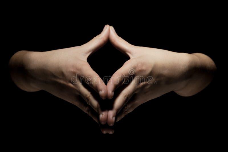 Mãos no gesto do mudra foto de stock royalty free
