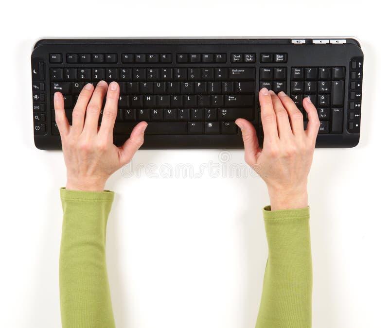 Mãos no revestimento verde e no teclado preto fotografia de stock