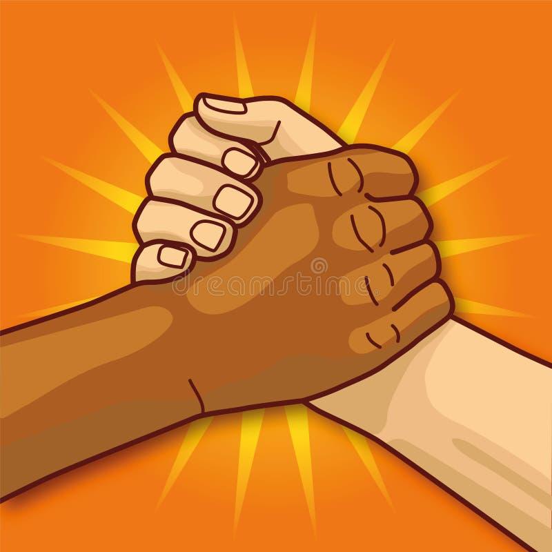 Mãos nos apertos de mão e na comunidade ilustração do vetor