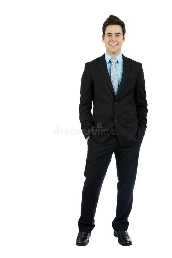Mãos novas do homem de negócio no bolso imagem de stock