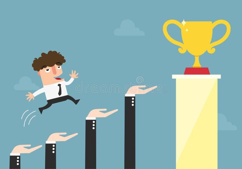 Mãos para ajudar o homem de negócios a ir ao sucesso, à carreira e ao crescimento ilustração do vetor
