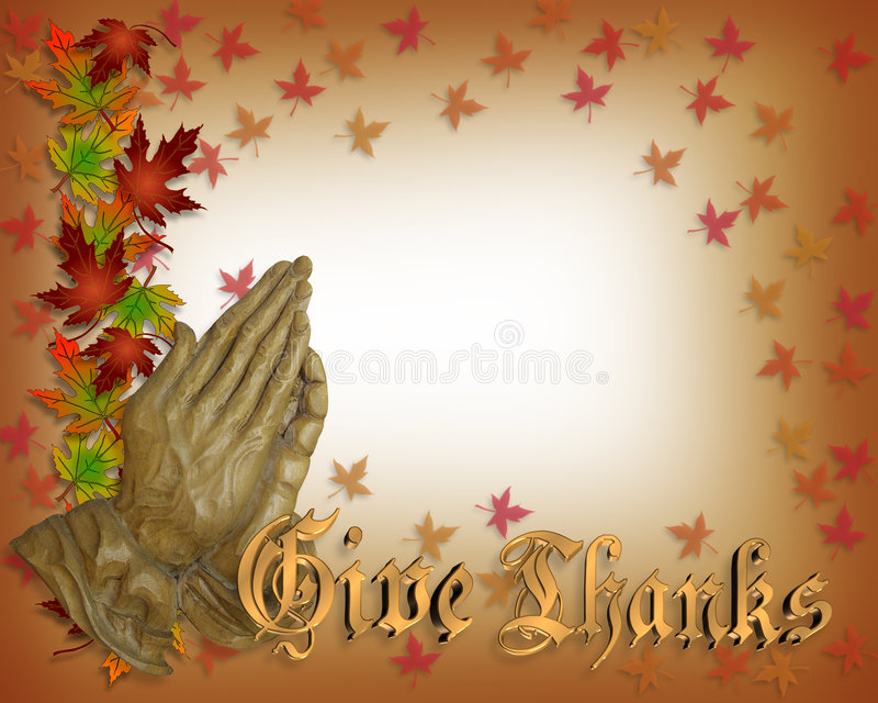 Mãos Praying da acção de graças ilustração stock