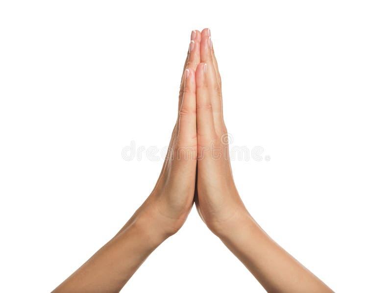 Mãos Praying de uma mulher imagem de stock
