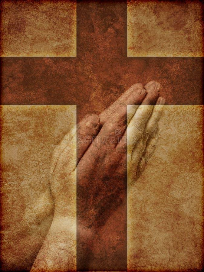 Mãos Praying e cruz cristã ilustração royalty free