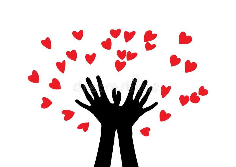 Mãos produzindo muitos corações Silhueta de duas mãos As mãos jogam muitos corações ilustração royalty free